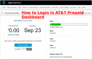 at&t prepaid login to my account dashboard