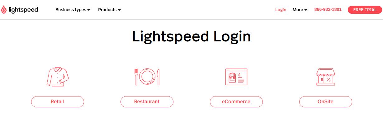Lightspeed login page