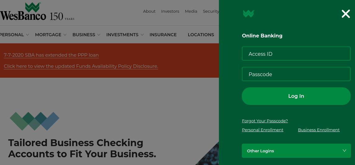wesbanco bank online banking login