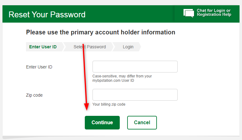 bp credit card forget User id and password recover