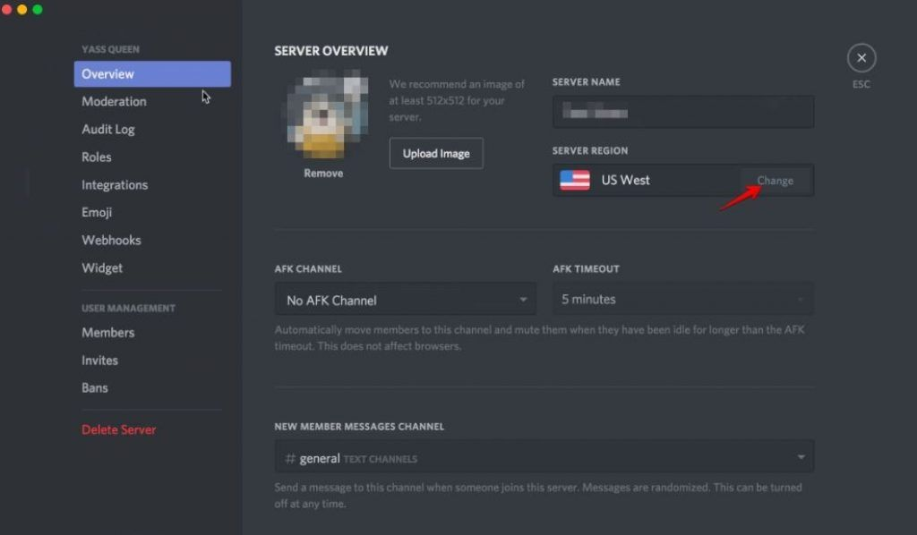 Discord no route issue and RTC connecting Error change server region