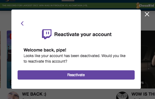 Reactivate twitch account