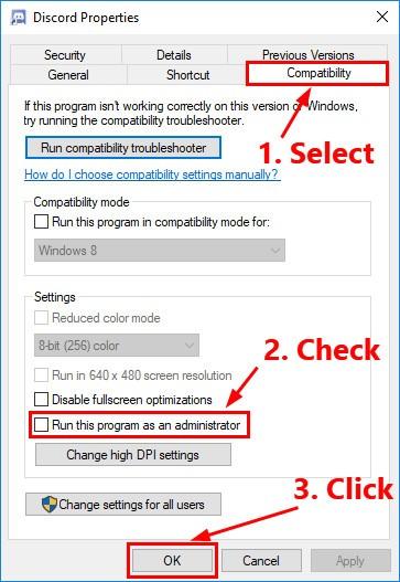 Run Discord as an Administrator to solve discord black screen