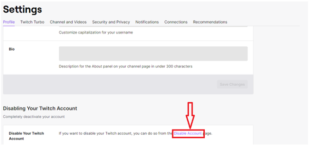 Twitch disable account