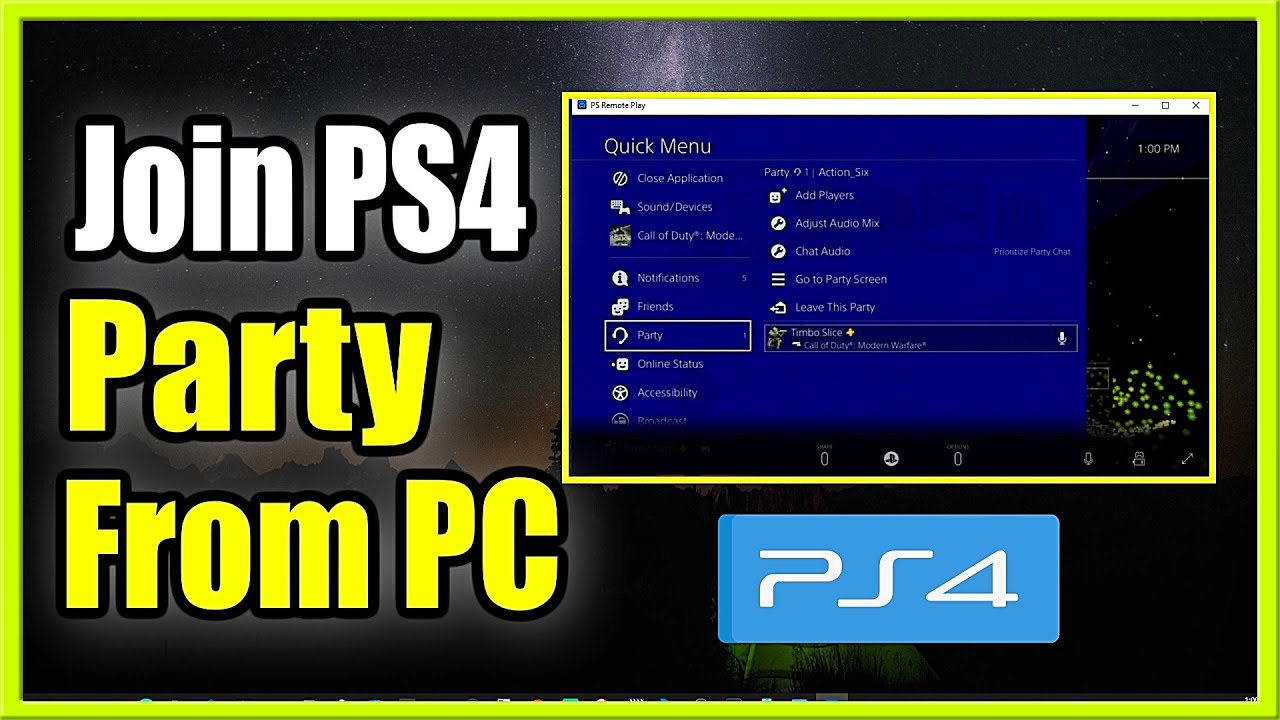 How to Join PlayStation ( Ps4 ) Party Chat on PC