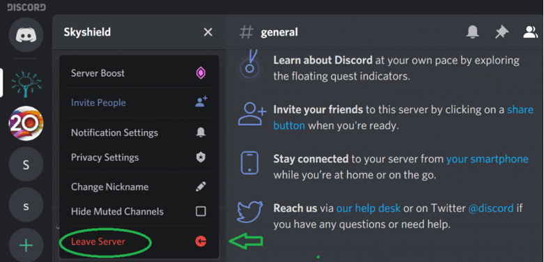 How to leave leave Discord server from desktop