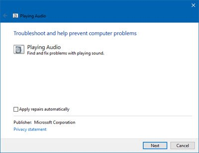 Run Windows audio troubleshooter for twitch no sound issue