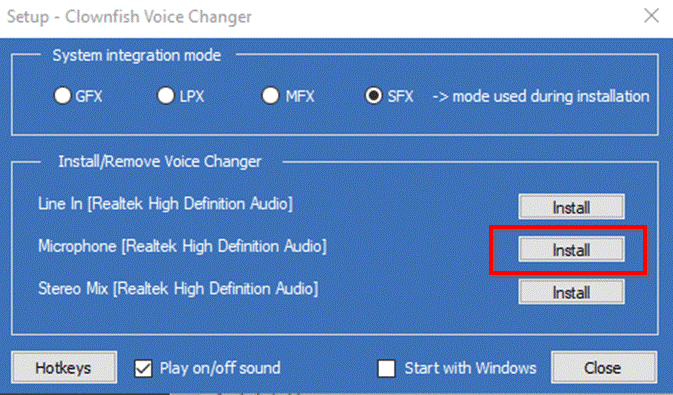 how to install clownfish voice changer